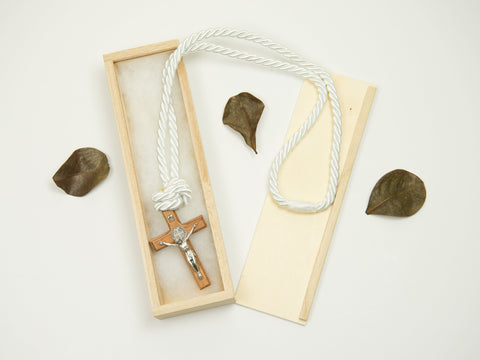 Boy's Communion Cross & Cord 24048 Dark Wood/Silver Boys Necklace Heritage House