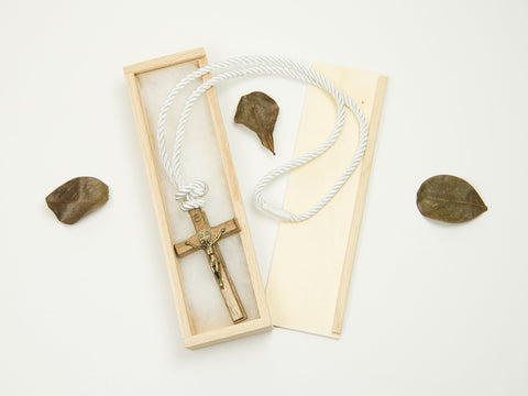 Boy's Communion Cross & Cord 24049 Dark Wood/Bronze Boys Necklace Heritage House