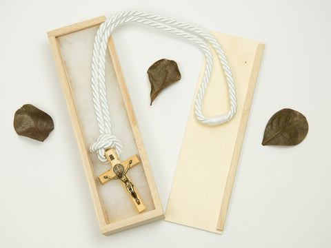 Boy's Communion Cross & Cord 24050 Light Wood/Bronze Boys Necklace Heritage House