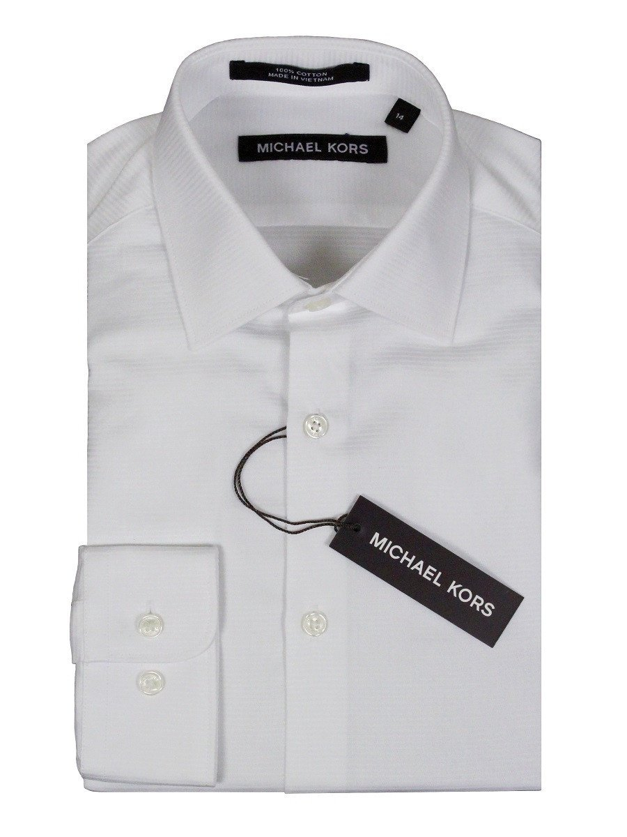 Michael Kors 24135 100% Cotton Boy's Dress Shirt - Tonal - White