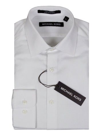 Michael Kors 24135 100% Cotton Boy's Dress Shirt - Tonal - White Boys Dress Shirt Michael Kors