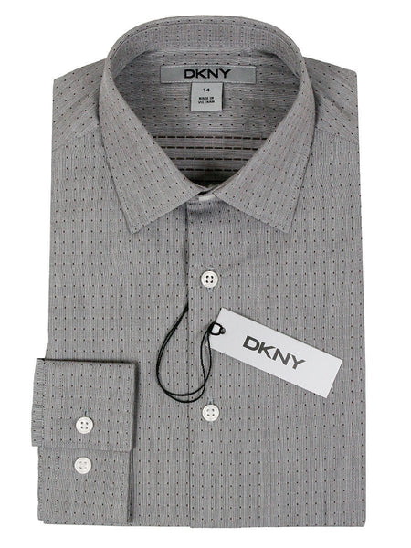 DKNY 24154 100% Cotton Boy's Dress Shirt - Dot - Gray