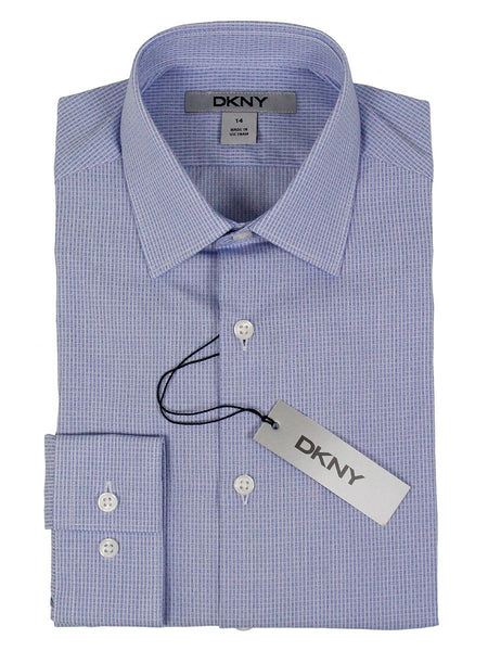 DKNY 24161 100% Cotton Boy's Dress Shirt - Checked - Blue and White