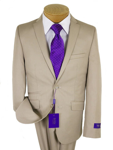 Tallia Purple 24325 76% Polyester/24% Rayon Skinny Fit Boy's Suit - Poplin - Tan Boys Suit Tallia