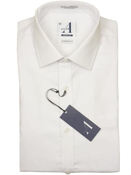 Boys Dress Shirts in White with a Waffle Weave and Wrinkle Free by Alviso at Boys Suits