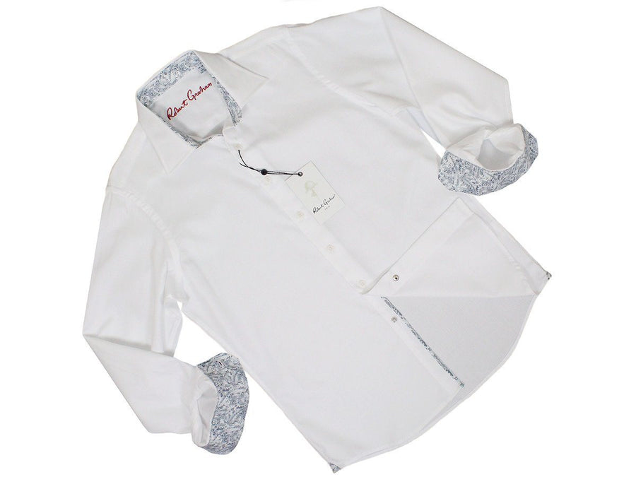 Robert Graham 24399 100% Cotton Boy's Dress Shirt - Dobby - White Boys L/S Knit Robert Graham