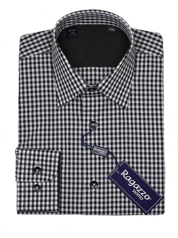 Ragazzo 24406 100% Cotton Boy's Dress Shirt - Gingham Check - Black Boys Dress Shirt Ragazzo