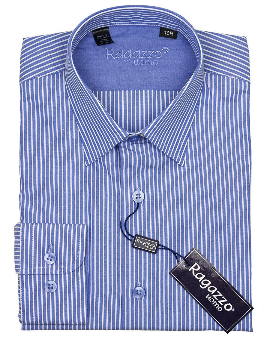 Ragazzo 24411 100% Cotton Boy's Dress Shirt - Stripe - Blue Boys Dress Shirt Ragazzo