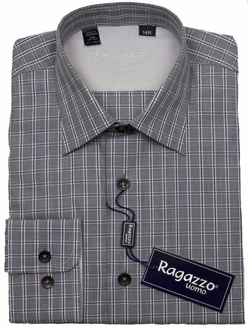 Ragazzo 24421 100% Cotton Boy's Dress Shirt - Plaid - Light Gray Boys Dress Shirt Ragazzo