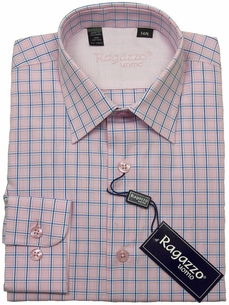 Ragazzo 24426 100% Cotton Boy's Dress Shirt - Plaid - Pink
