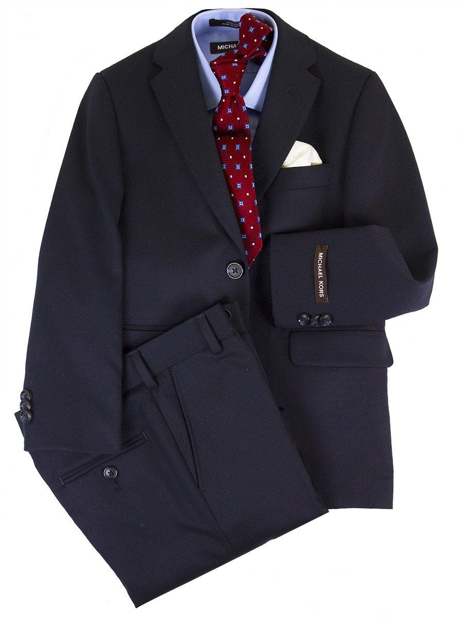 Michael Kors 24467 100% Wool Suit - Solid - Navy Boys Suit Michael Kors