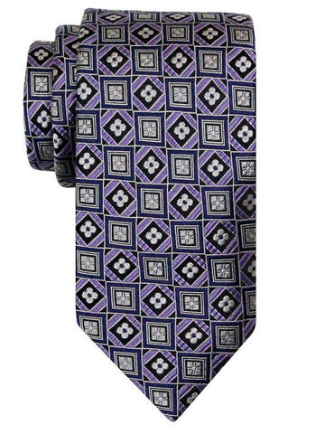 Heritage House 24498 100% Silk Boy's Tie - Geometric Squares - Purple Boys Tie Heritage House