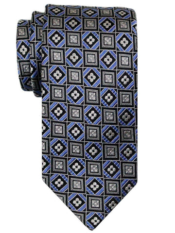 Heritage House 24500 100% Silk Boy's Tie - Geometric Squares - Blue Boys Tie Heritage House