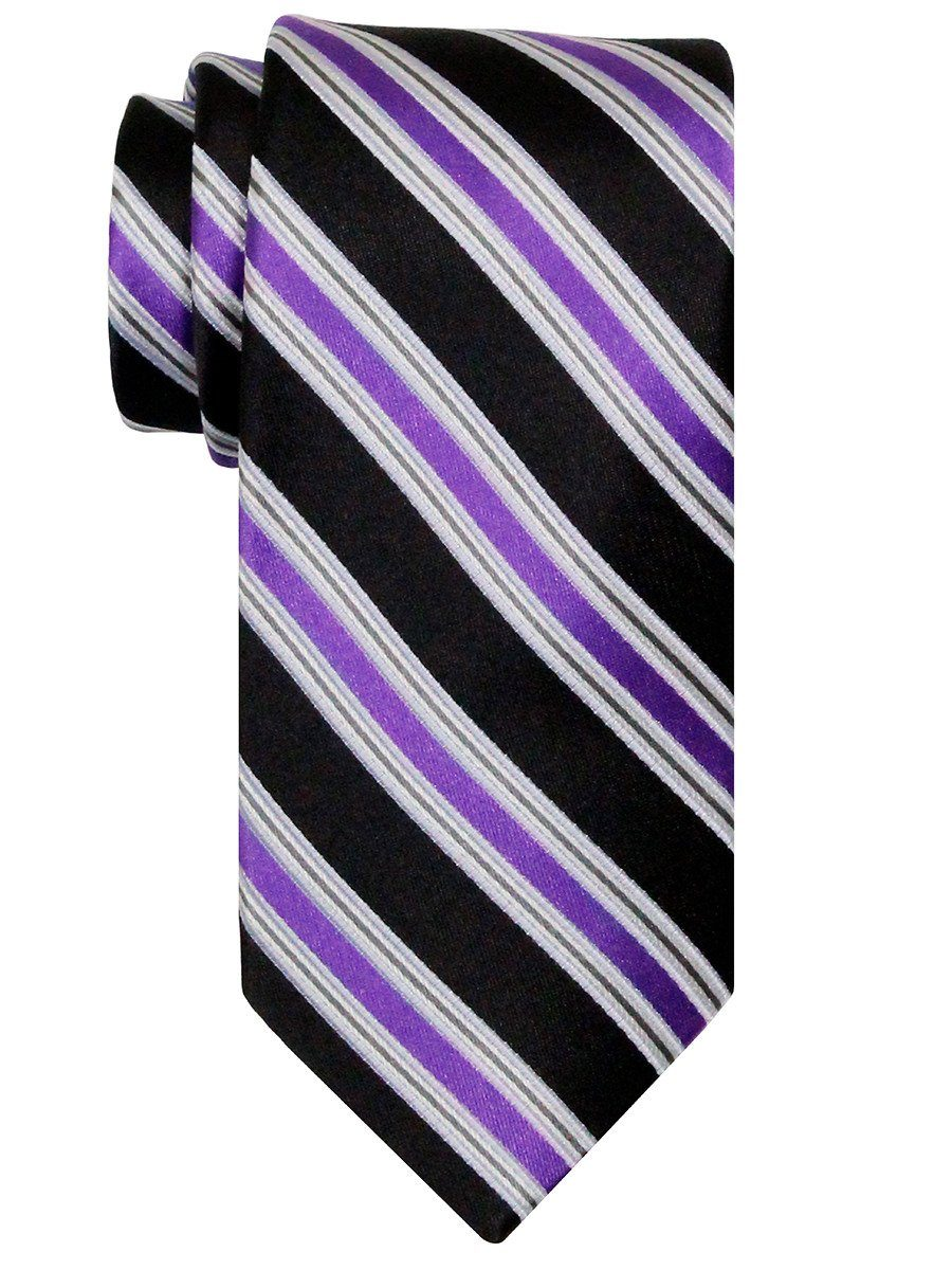 Heritage House 24538 100% Silk Boy's Tie - Stripe - Black/Purple