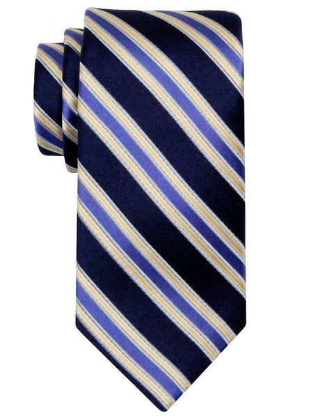 Heritage House 24540 100% Silk Boy's Tie - Stripe - Navy/Yellow