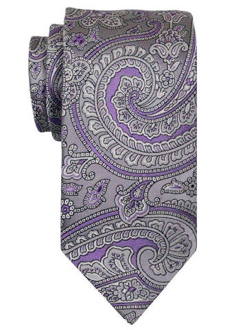 Heritage House 24567 100% Woven Silk Boy's Tie - Paisley Pattern - Silver/purple Boys Tie Heritage House