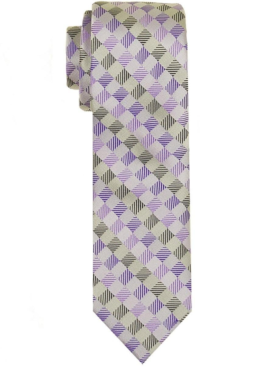 Heritage House 24569 100% Woven Silk Boy's Tie - Neat - Silver/Purple