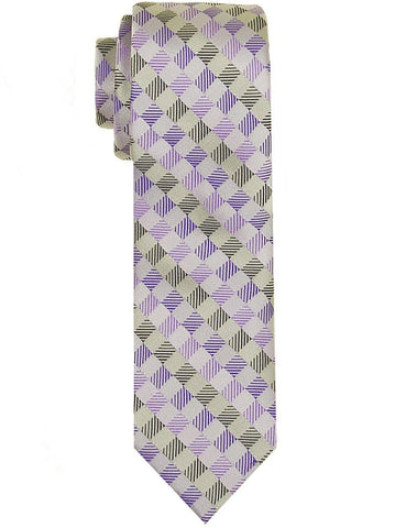 Heritage House 24569 100% Woven Silk Boy's Tie - Neat - Silver/Purple Boys Tie Heritage House