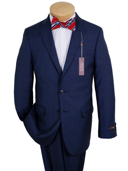 Hickey 24641 100% Wool Boy's Suit - Plaid - Blue