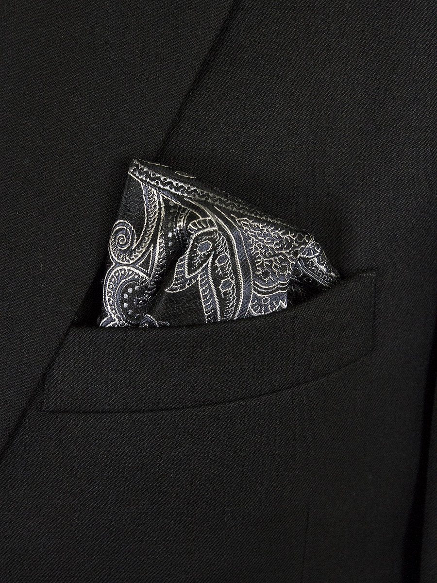 Boy's Pocket Square 24669 Black/Silver