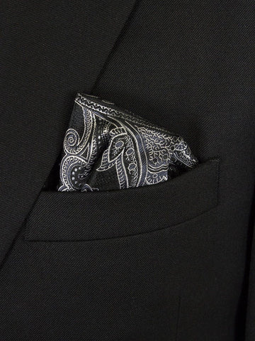 Boy's Pocket Square 24669 Black/Silver Boys Pocket Square Heritage House
