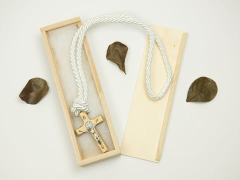 Boy's Communion Cross & Cord 24718 Two Tone Wood/Silver Boys Necklace Heritage House