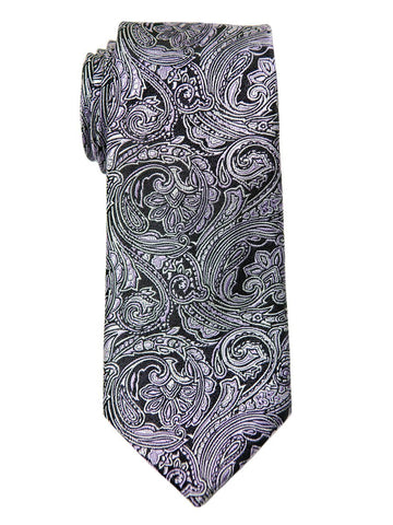 Heritage House 24942 100% Woven Silk Boy's Tie - Paisley Pattern - Black/Silver/Lilac Boys Tie Heritage House