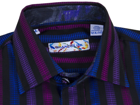 Image of Brandolini Boy's Sport Shirt 25038 Multi Stripe Boys Sport Shirt Brandolini