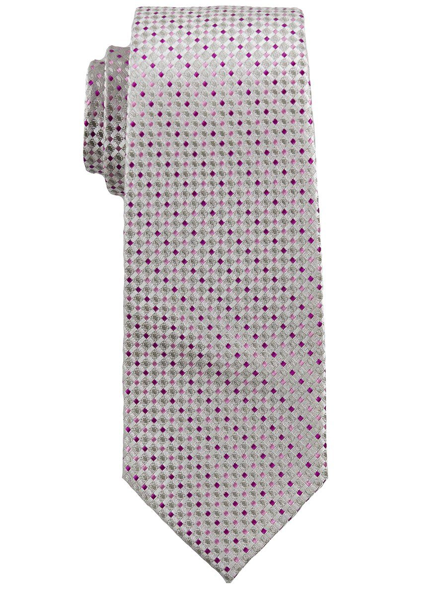 Heritage House 25136 100% Silk Boy's Tie - Neat - Silver/Pink