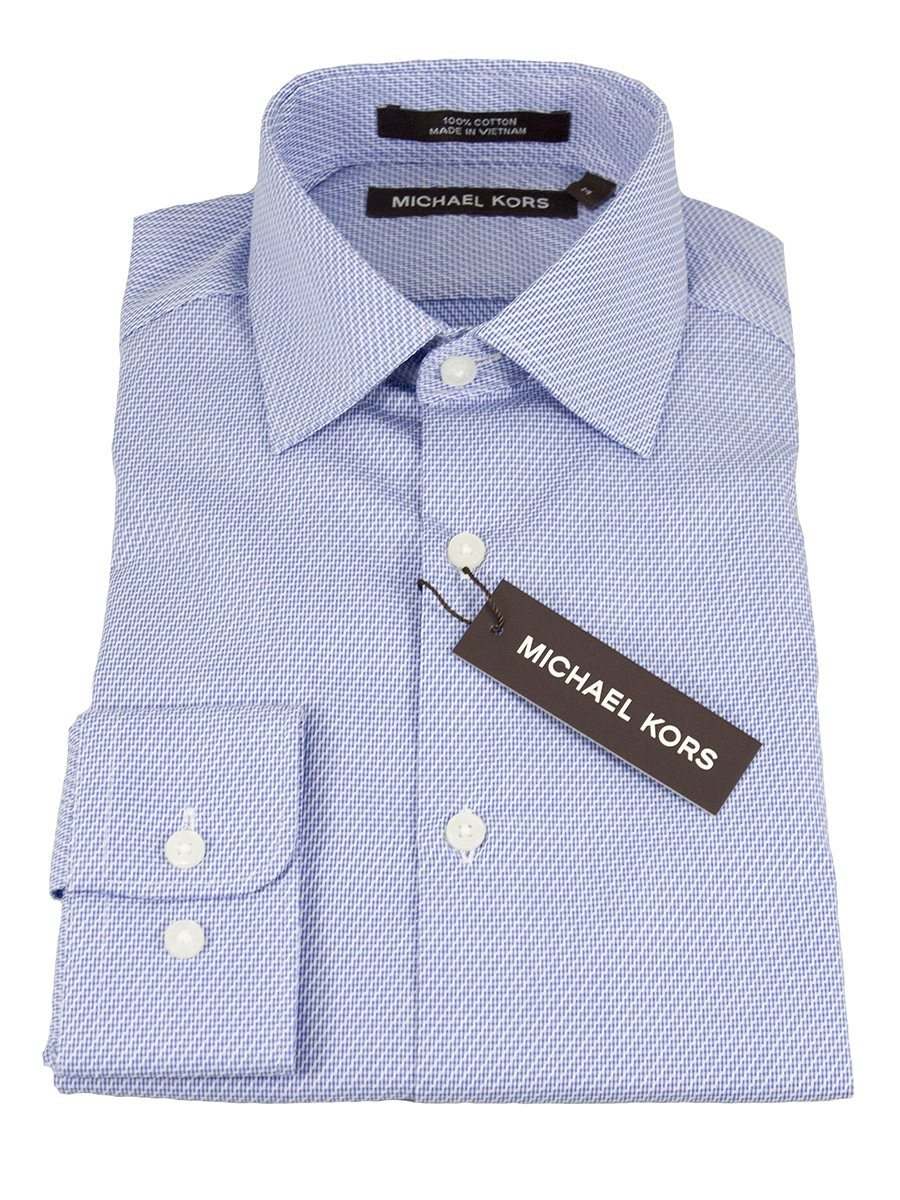 Michael Kors 25307 100% Cotton Boy's Dress Shirt - Neat - Blue/White, Modified Spread Collar