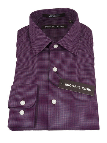Michael Kors 25314 100% Cotton Boy's Dress Shirt - Check - Burgundy, Modified Spread Collar Boys Dress Shirt Michael Kors