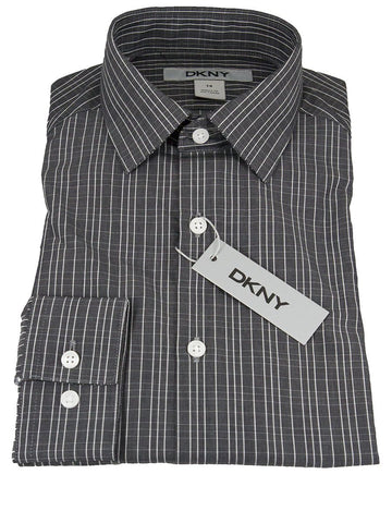 DKNY 25321 100% Cotton Boy's Dress Shirt - Stripe - Charcoal, Long Sleeve Boys Dress Shirt DKNY