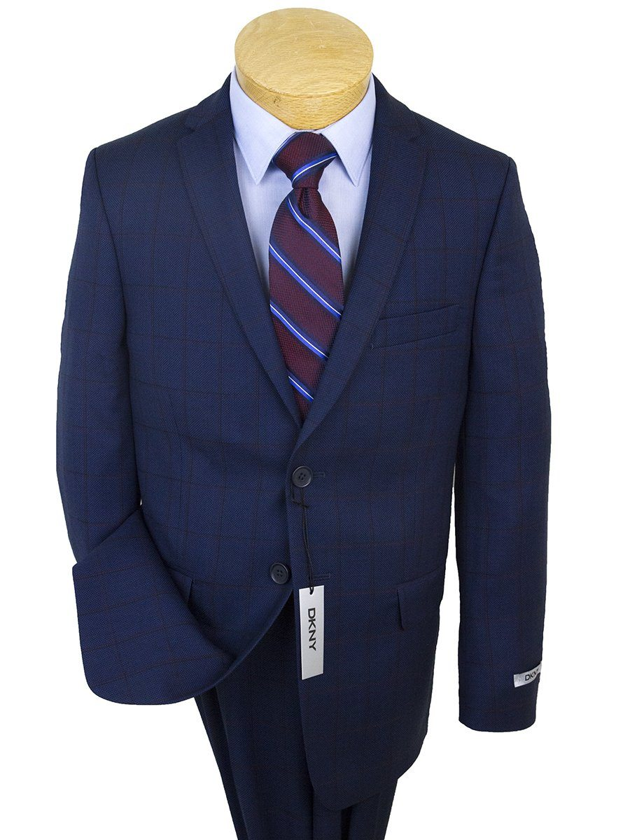 DKNY 25362 Skinny Fit Boy's Suit-Blue-Windowpane