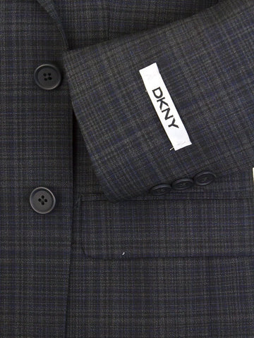 DKNY 25369 96% Wool/4% Lycra Boy's Sport Coat - Plaid - Blue/Black Boys Sport Coat DKNY