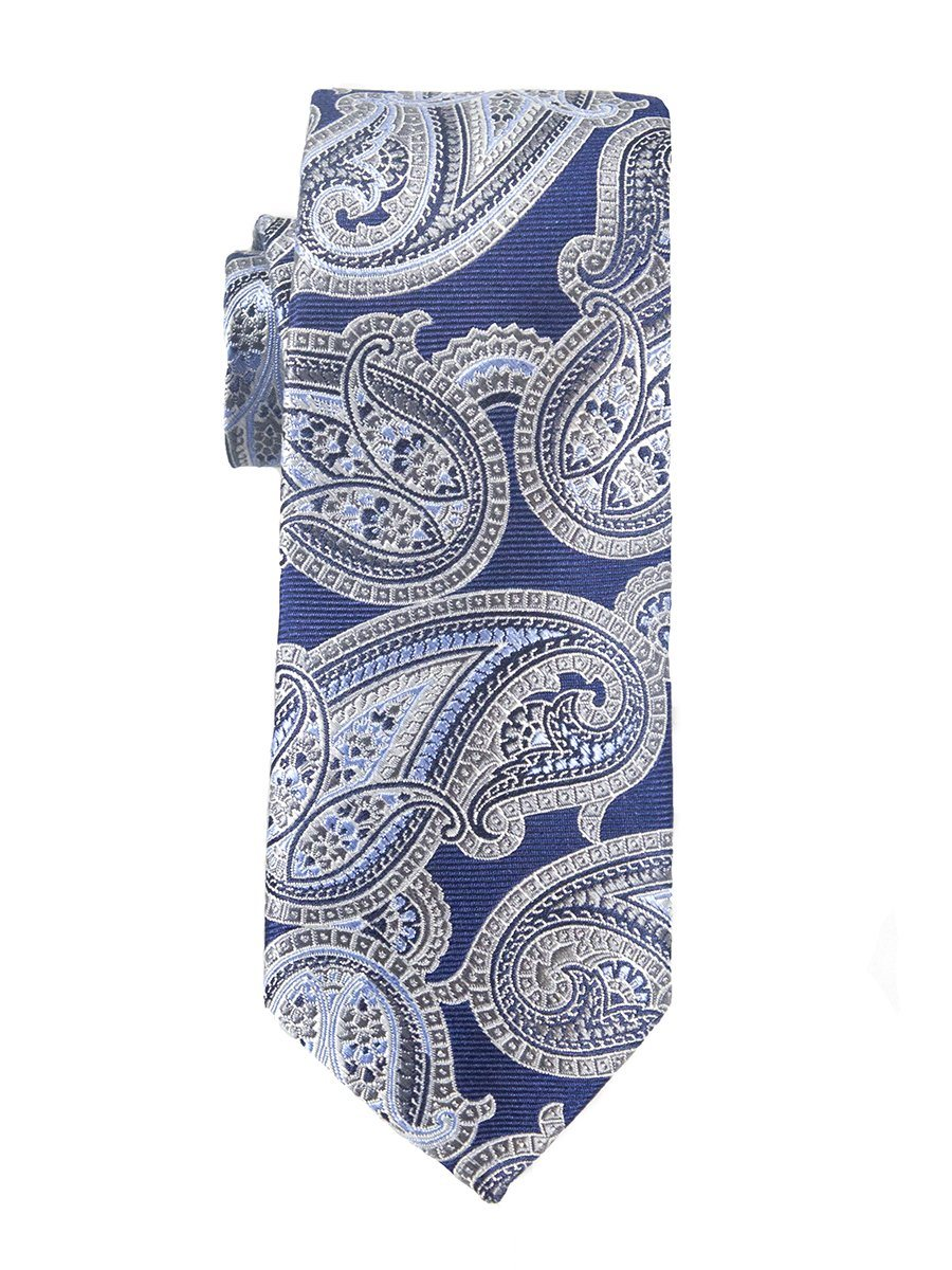 Heritage House 25439 100% Woven Silk Boy's Tie - Paisley - Purple/Blue/Khaki