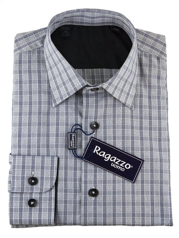 Ragazzo 25450 100% Cotton Boy's Dress Shirt - Plaid - Black Boys Dress Shirt Ragazzo