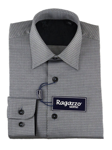 Ragazzo 25457 100% Cotton Boy's Dress Shirt - Chevron - Black Boys Dress Shirt Ragazzo