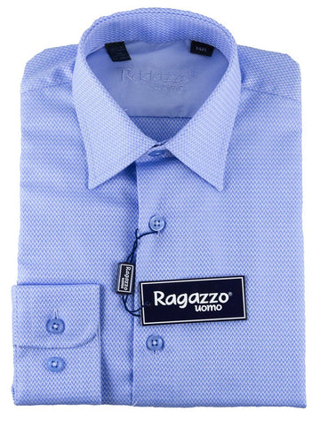 Ragazzo 25464 100% Cotton Boy's Dress Shirt - Chevron - Medium Blue Boys Dress Shirt Ragazzo