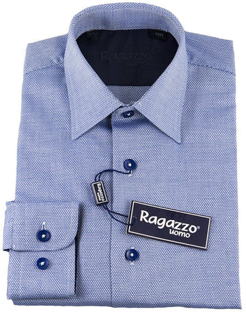 Ragazzo 25471 100% Cotton Boy's Dress Shirt - Pique - Dark Blue Boys Dress Shirt Ragazzo