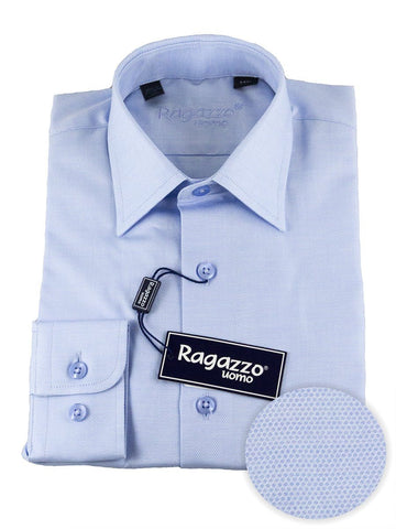 Ragazzo 25478 100% Cotton Boy's Dress Shirt - Diamond Weave - Sky Blue Boys Dress Shirt Ragazzo