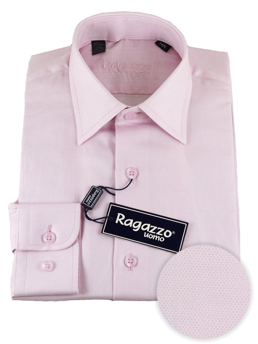 Ragazzo 25485 100% Cotton Boy's Dress Shirt - Diamond Weave - Pink