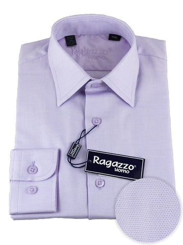 Ragazzo 25492 100% Cotton Boy's Dress Shirt - Diamond Weave - Lavender Boys Dress Shirt Ragazzo