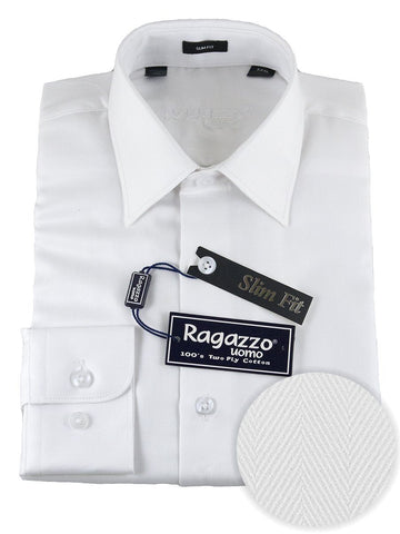 Ragazzo 25520 100% Cotton Boy's Dress Shirt - Slim Fit- Herringbone - White Boys Dress Shirt Ragazzo