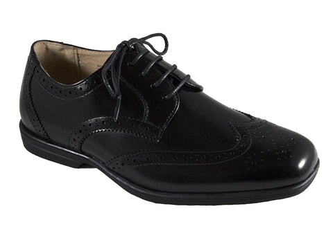 Florsheim 25573 Lace-Up Boy's Shoe - Wing Tip- Black Boys Shoes Florsheim