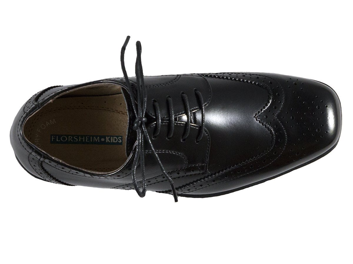 Florsheim 25573 Lace-Up Boy's Shoe - Wing Tip- Black