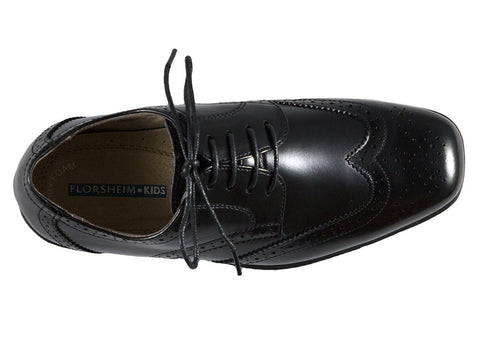 Image of Florsheim 25573 Lace-Up Boy's Shoe - Wing Tip- Black Boys Shoes Florsheim