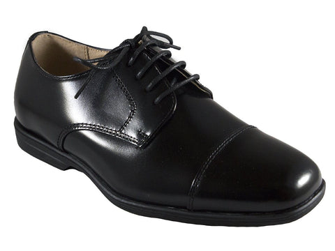 Image of Florsheim 25586 Lace-Up Boy's Shoe - Cap Toe- Oxford- Black Boys Shoes Florsheim