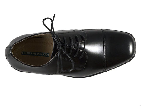 Florsheim 25586 Lace-Up Boy's Shoe - Cap Toe- Oxford- Black Boys Shoes Florsheim