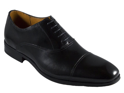 Image of Florsheim 25596 Full-Grain Leather Boy's Shoe - Cap Toe Oxford - Black Boys Shoes Florsheim