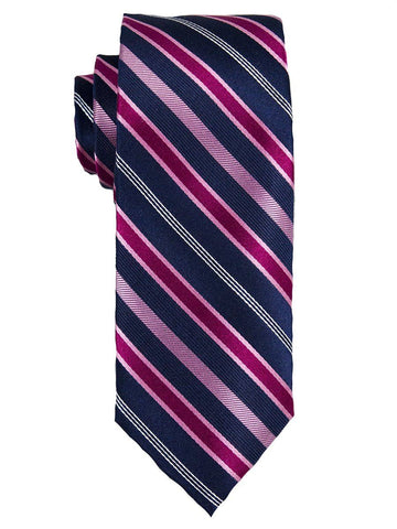 Heritage House 25646 100% Silk Boy's Tie - Stripe - Pink/Navy Boys Tie Heritage House